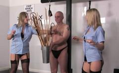 Police dominas flogging tied down useless sub