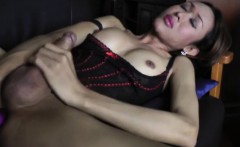 Sweet ladyboy Apple unleashes her healthy cock and jerks off
