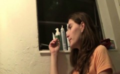 Busty brunette teen makes her stepdad forgive her for mistak