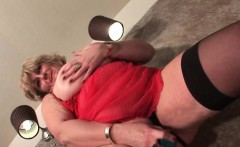Slutty blonde mature toying both fuck holes