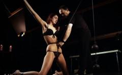 Hardcore tall girl keen bondage masturbated in ropes
