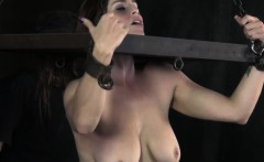 Restrained sub whipped by maledom on big ass