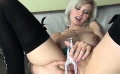 Open her vagina fully with nice vibrators