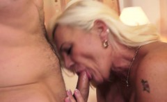 Hairy granny gets young dick