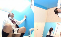 Asian teens squat to pee