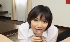 Ruri Anno in white shirt sucks hard penis