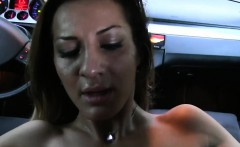 Busty amateur bangs huge cock in fake taxi