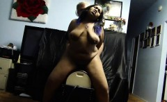 big tits ebony riding the sybian for her orgasm