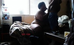 Black BBW gets dicked hard in his room