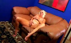 Nasty chubby granny stripping