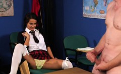 Clothed schoolgirl laughs