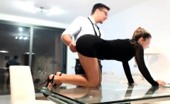 elegant secretary peels off her tight black dress and expos