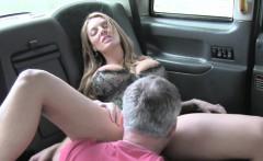 Huge tits blonde in corset fucks in cab