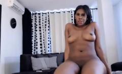 striking ebony babe with marvelous tits and ass masturbates