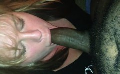 Milf stroking her friends penis that is dark