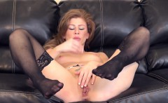 exciting babe in black stockings brooklyn lee masturbates on the couch