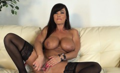 big breasted cougar in black stockings lisa ann masturbates on camera