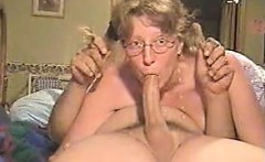 Pigtailed blonde in eyeglasses provides her guy a heck of t