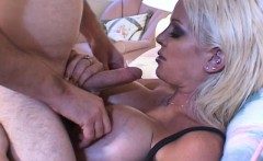 luscious blonde with huge boobs sucks and fucks a big dick on the bed