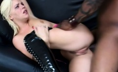 Naughty blonde in black boots gets drilled deep by a dark skinned stud