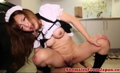 Frenchmaid ladyboy jerking while assfucked