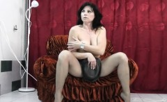 Pantyhose fetish fun with real milf in backstage