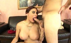 Stacked brunette milf gets her fiery peach eaten out and fucked good