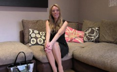 Babe in lingerie fucks on interview