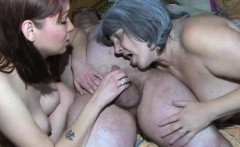 Granny using new toys enjoying threesome