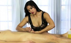 Asian masseuse footjob and pounded hard on massage table