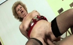 Big boobed granny rides big cock like a pro
