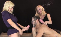 Chicks pound fellas anal with oversized strapons and squirt