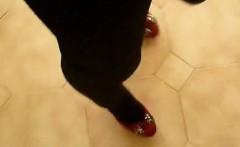 crossdresser leggins and miniskirt