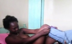 Curvy African bitches toying pussies in lesbian action