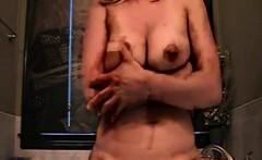 Sexy mom masturbates with dildo that is large