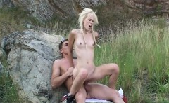 Skinny bitch having hard sex on the mountain