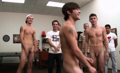 College amateurs jerking in group before anal