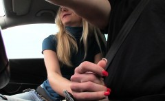 Screwed hitchhiking eurobabe jizzed on pussy