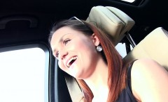 Teen hitchhiker pops her tits out in stranger car