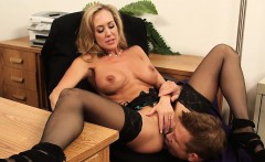 Big Tits Brunette MILF Boss Rides Young Cock Brandi Love