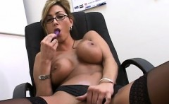 fascinating blonde librarian in lingerie pleases her twat with a dildo
