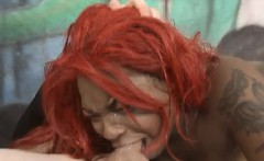 black redhead sky blu getting face mashed by white dick