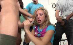 Kinky teens get nailed in gangbangs