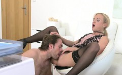 Dude licks and bangs female agent in her office