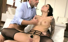 Tattooed Babe Fucked In Threeway Sex