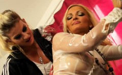 blonde european lesbians oil up