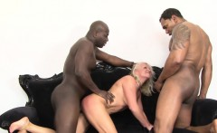 Granny fucks two black guys in hardcore threesome