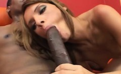 Ravishing babe has a black guy burying his huge dick inside her pussy