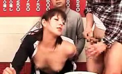 Asian cutie eats a meal and a dude jacks off onto the food