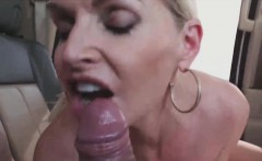 busty milf public sex and mouth full of cum in a car